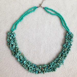 Turquoise Stone Multi Strand Bib Style Necklace